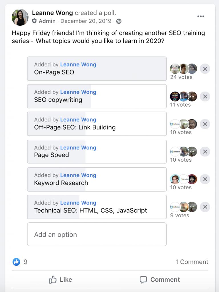 facebook poll seo topics