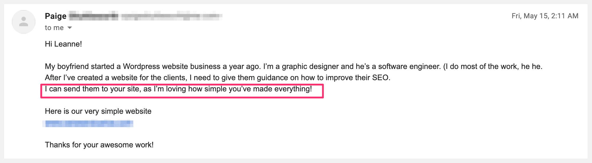 seo client enquiry feedback