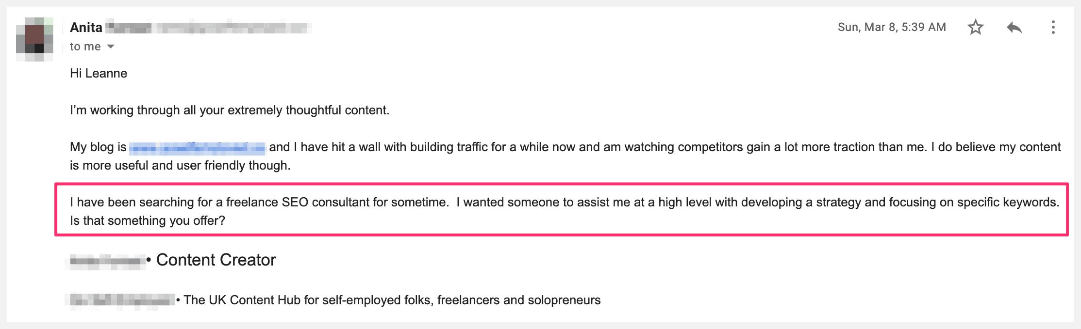 seo enquiry client feedback