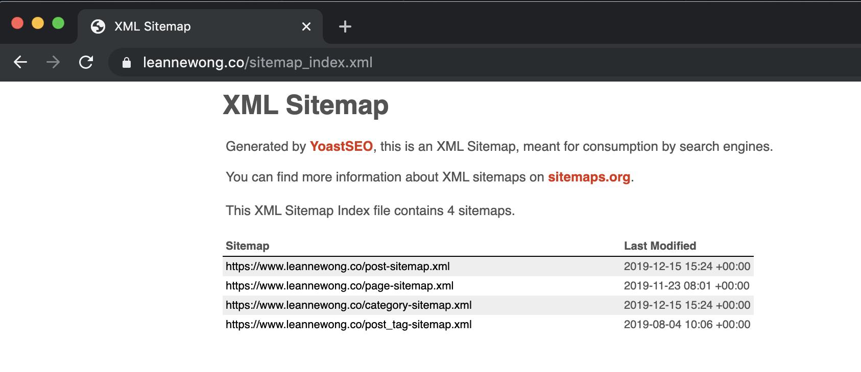 xml sitemap seo example